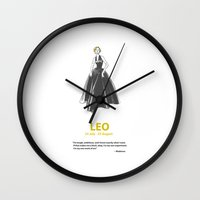 leo Wall Clocks featuring Leo by Cansu Girgin