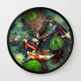 Nishikigoi - Koi - goi - Japanese carp - Kois - water lilies - Seerosen - Fisch - fish - Koi pond - japanische  Karpfen Wall Clock