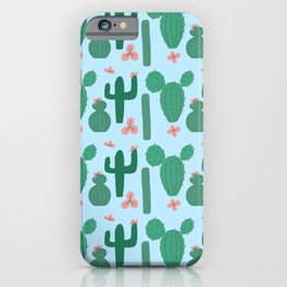Green Cactus on Pale Blue with Pink Cactus Flowers iPhone Case