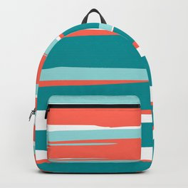 Colorful Stripes, Coral, Teal and Aqua Backpack