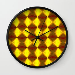 Bold Red, Green and Gold Repeating Pattern Wall Clock