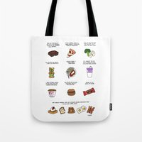 parks and rec Tote Bags featuring Foods of Parks and Rec by Tyler Feder