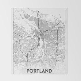 Minimal City Maps - Map Of Portland, Oregon, United States Throw Blanket