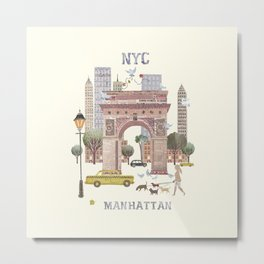 NYC Manhattan collage  Metal Print