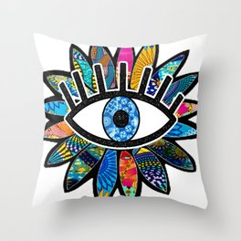 Greek Evil Eye Blue Flower Throw Pillow
