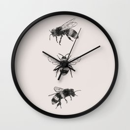 Three Bees Wall Clock