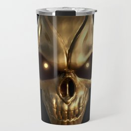 Skull with glowing golden eyes Travel Mug
