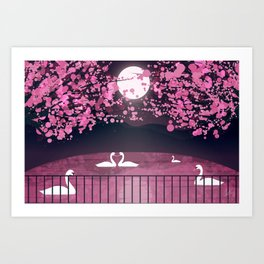Swans and Cherry Blossoms Art Print