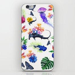 tropical shark pattern iPhone Skin
