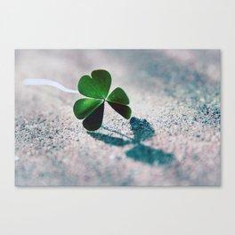 Green Clover Shadow Canvas Print