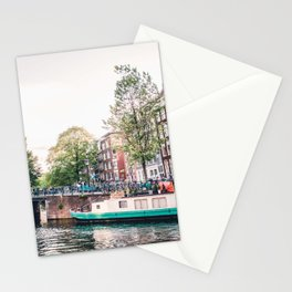 Amsterdam House Boats on Canal | Europe City Travel Urban Landscape Photography Stationery Cards