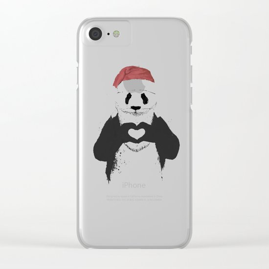 Santa panda Clear iPhone Case