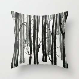 wood and snow Throw Pillow