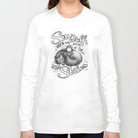 stiles Long Sleeve T-shirts featuring Sterek Sleepy Wolf & Stiles III by siny