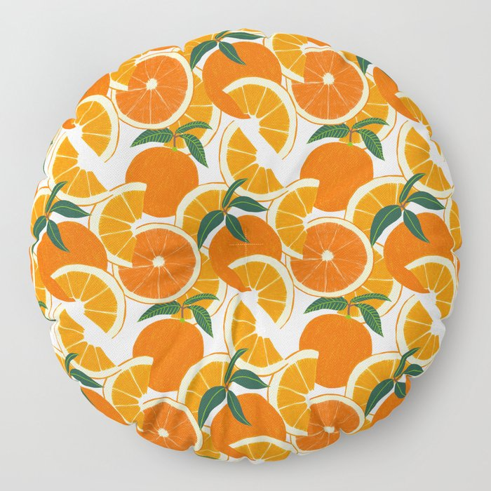 Orange Harvest - White Floor Pillow