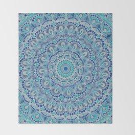 Ocean Blue Arabian Pattern Throw Blanket