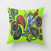 paisley Throw Pillows featuring Paisley by Sketchii Studio