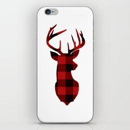 Red Buffalo Plaid Deer iPhone Skin
