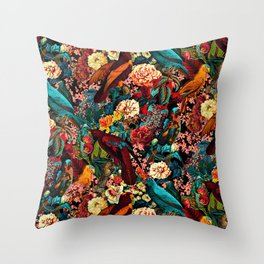 FLORAL AND BIRDS XVII Throw Pillow