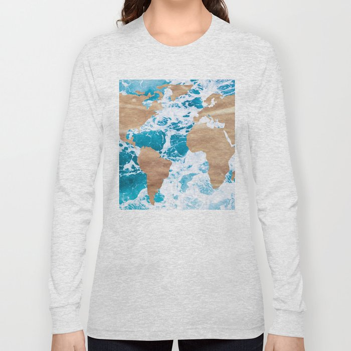 Ocean World Map Vintage Turquoise Sea Long Sleeve T-shirt