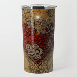 Steampunk, awesome heart Travel Mug