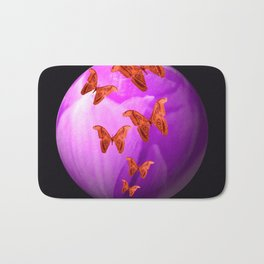 Violet Flower Bud With Apollo Butterflies Illustration On A Black Background #decor #society6 Bath Mat