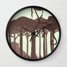 Monkey in the Jungle Wall Clock