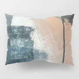 Honey 1: a pretty, minimal abstract in midnight blue, rose gold, and white Pillow Sham