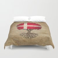 denmark Duvet Covers featuring Vintage Tree of Life with Flag of Denmark by Jeff Bartels