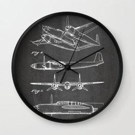 Hughes Lockheed Airplane Patent - Hughes Aviation Art - Black Chalkboard Wall Clock