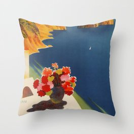 Capri la isla de Sole Travel Poster Throw Pillow