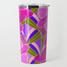 Pink & Fuchsia Purple Art Deco Orchids Art Travel Mug