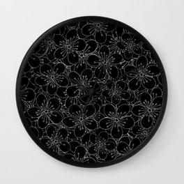 Cherry Blossom Black on White - In Memory of Mackenzie Wall Clock