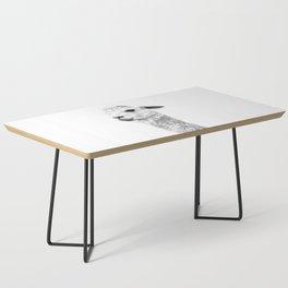 Black and white llama animal portrait Coffee Table