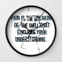 pain Wall Clocks featuring Pain by fariedesign