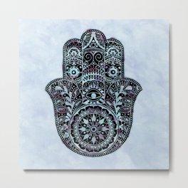 Watercolor Blue Pink Hamsa Hand Metal Print