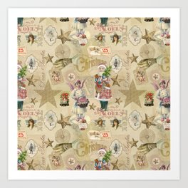 Vintage Christmas Collage Pattern Art Print