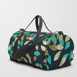 Stylish modern navy blue teal gold leaves pattern Duffle Bag