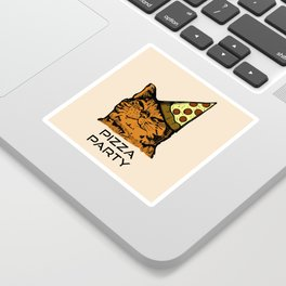 Pizza Party Cat: Funny Animal Kitty Sticker