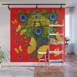 GREEN PEACOCK FEATHERS YELLOW BUTTERFLIES ON  RED ART Wall Mural