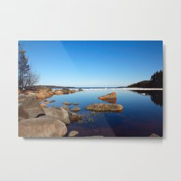 Quiet spring landscape with lake, stones and floe Metal Print