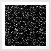 Constellations animal constellations stars outer space night sky pattern by andrea lauren black Art Print