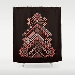 Knitted beautiful coral Christmas tree Shower Curtain