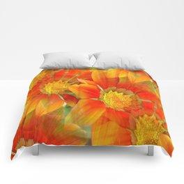 Seamless Vibrant Yellow Gazania Flower Comforters