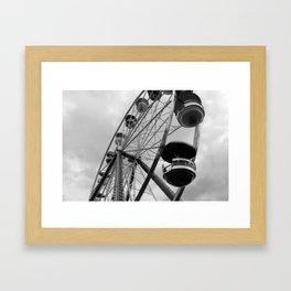 Ferris Wheel (black and white) Framed Art Print