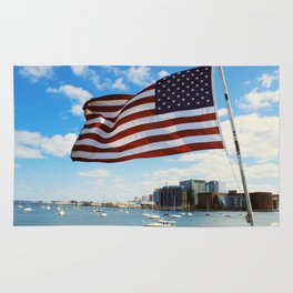 American Flag Over Boston Harbor Rug