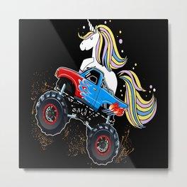 Monster Truck Unicorn Driver Gift Idea Motif Metal Print