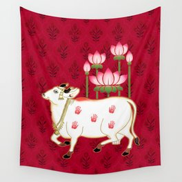 HOLY COW - Indian Pichwai Art Crimson Pink  Wall Tapestry