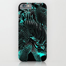 Turquoise Inverse Zebras iPhone Case