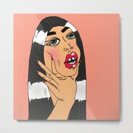 Choking Babe (Peach) Metal Print